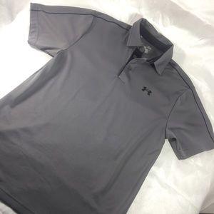 ❤️ Men's UA grey polo shirt w piping on shoulder